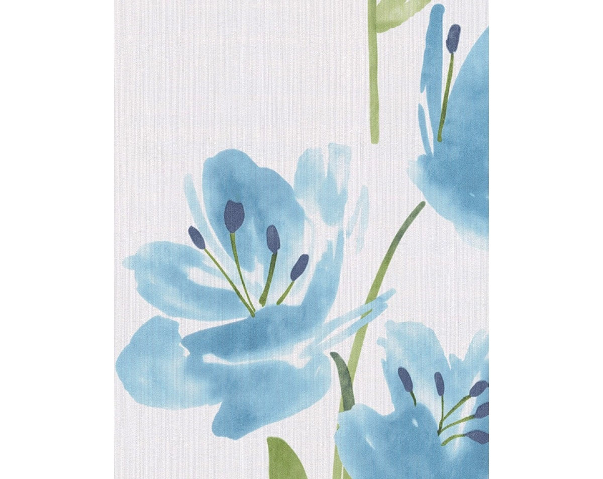 Tulips Floral Stripes Blue White 331410 Wallpaper