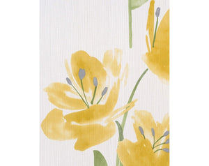 Tulips Floral Stripes Yellow White 331427 Wallpaper