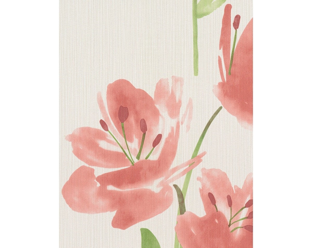 Tulips Floral Stripes Red White 331441 Wallpaper
