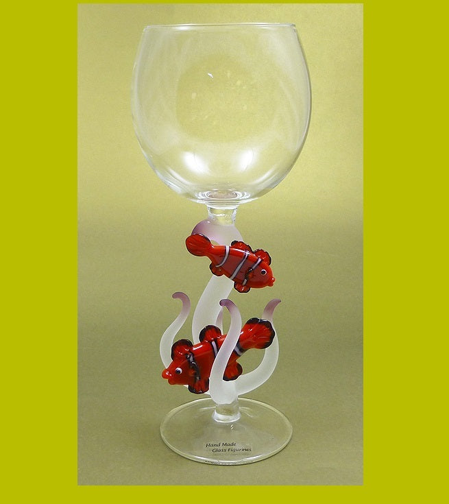 Two Clownfish with Coral Hand Blown Wine Glass