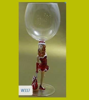Christmas Lady with Bag  Hand Blown Wine Glass