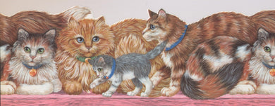 Cats with Green and Blue Collars on Pink Bench ISB4101B Wallpaper Border