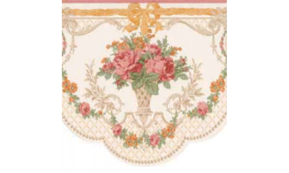 Pink Floral Scalloped 31616250 Wallpaper Border