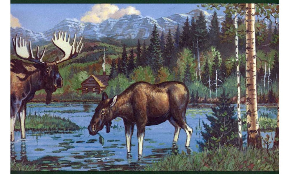 Dark Black Moose WL5608 Wallpaper Border