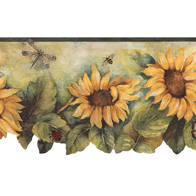 Yellow Brown Sunflowers Butterflies BG71362DC Wallpaper Border