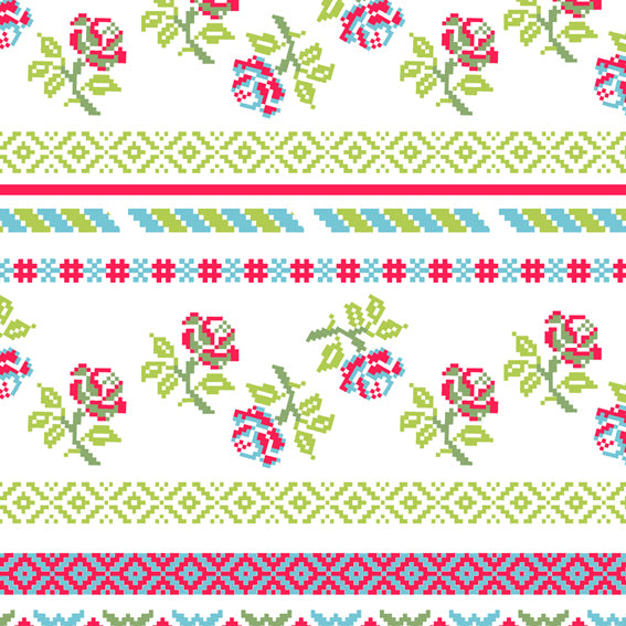Bright Floral Stripes Pink Green 46911 Wallpaper