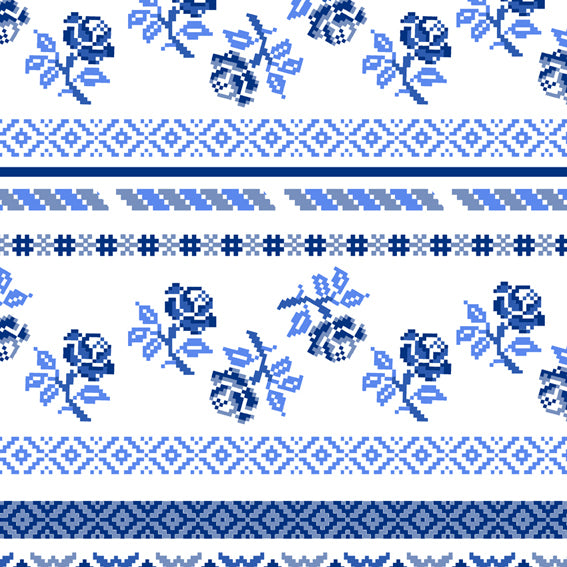 Bright Floral Stripes Blue Grey 46916 Wallpaper