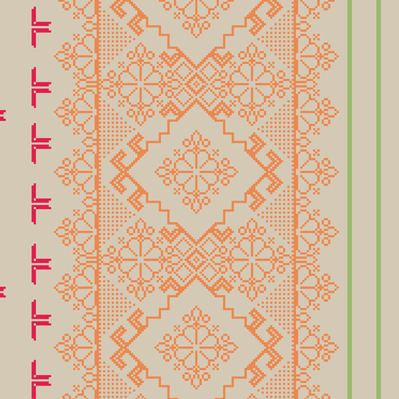 Homely Geometric Floral Orange Grey 46923 Wallpaper