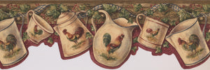 White Cup Kettle Rooster Country BSB7004B Wallpaper Border