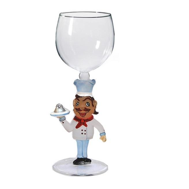 Brown Chef Hand Blown Wine Glass