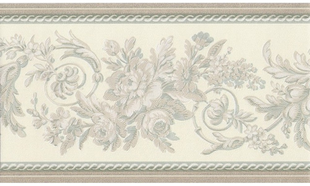 Gold Green Cream Floral Molding 31616350 Wallpaper Border