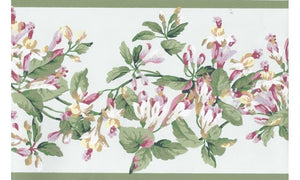 Green Pink Painted Floral JT7484 Wallpaper Border