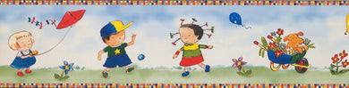 Cartoon Kids Playing Ball BB4012A Wallpaper Border