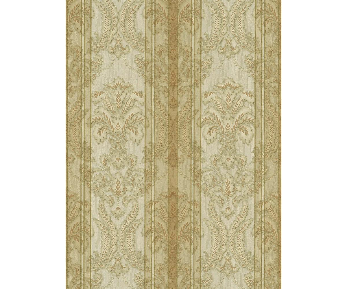 Ornated Floral Damask Stripes Gold 5781 30 Wallpaper Designer