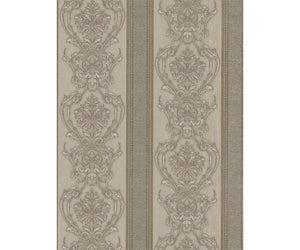 Ornated Floral Damask Stripes Silver 5782-27 Wallpaper