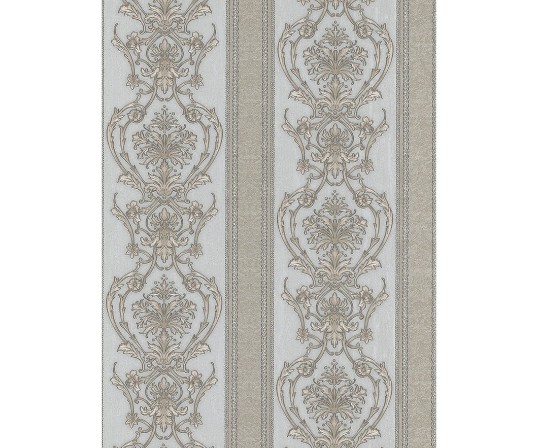 Ornated Floral Damask Stripes Grey 5782-29 Wallpaper