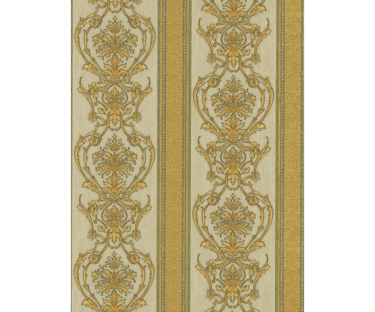 Ornated Floral Damask Stripes Gold 5782 30 Wallpaper Designer