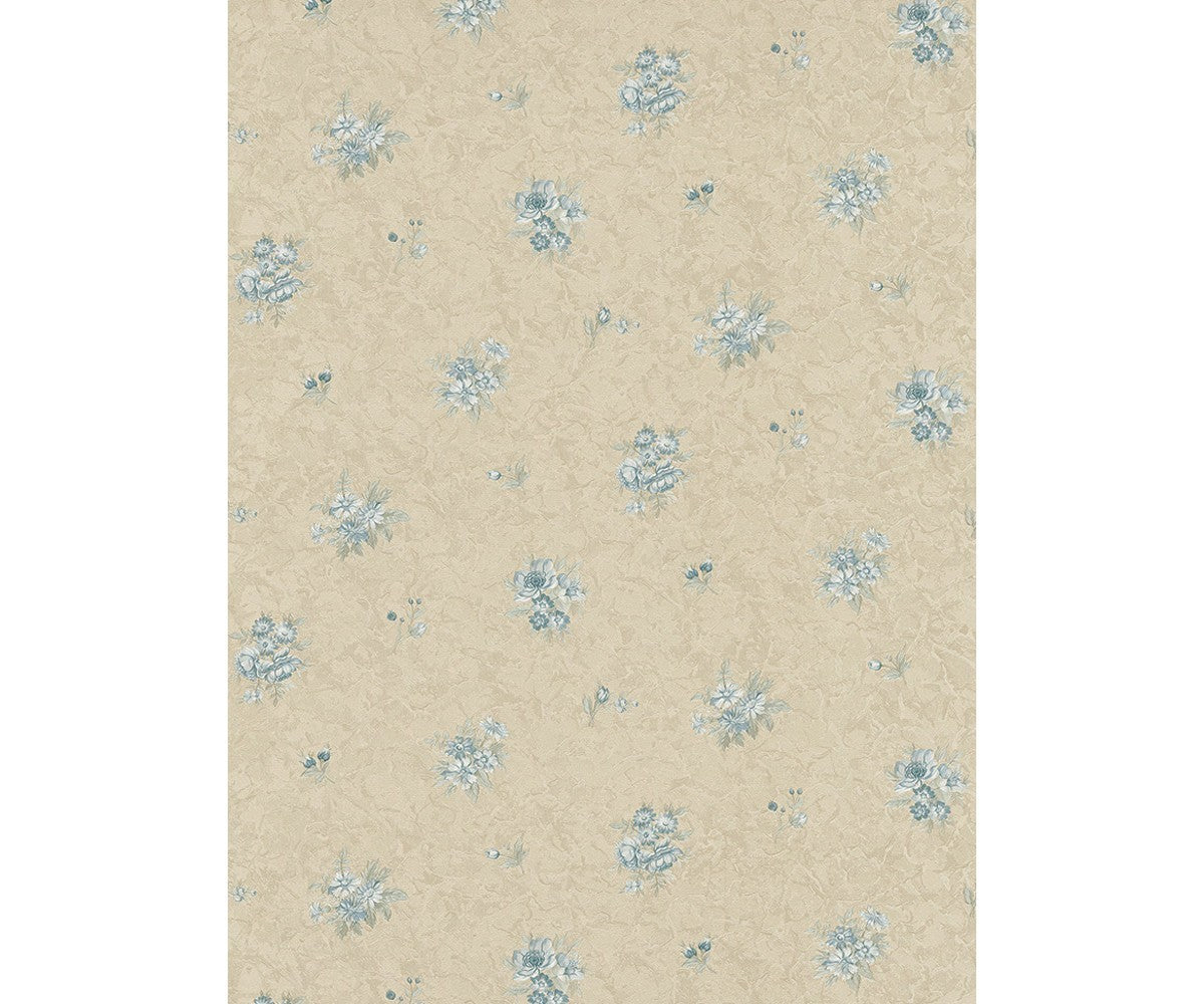 Textured Floral Motifs Blue Beige 5787-14 Wallpaper