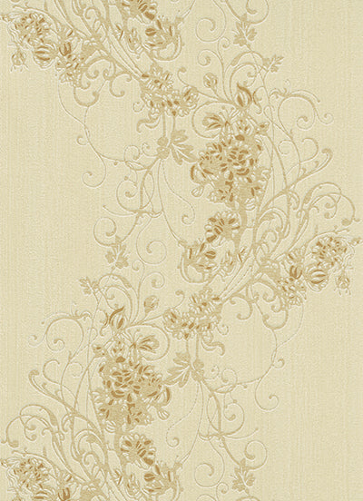 Ornated Floral Scroll Beige 5794-02 Wallpaper