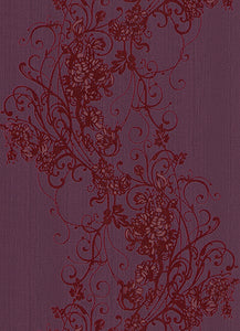 Ornated Floral Scroll Red Violet 5794-09 Wallpaper