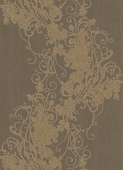 Ornated Floral Scroll Brown Bronze 5794-33 Wallpaper