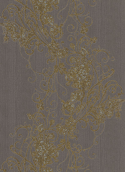 Ornated Floral Scroll Taupe Dark Brown 5794-47 Wallpaper