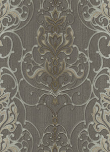 Ornated Floral Damask Taupe Grey 5795-47 Wallpaper