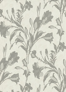 Tulip Floral Trail White Grey 5796-10 Wallpaper