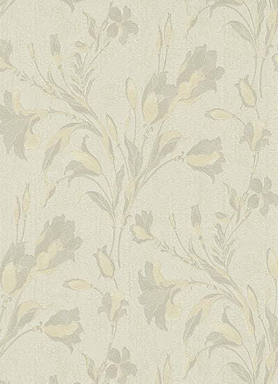 Tulip Floral Trail Grey Cream 5796-37 Wallpaper