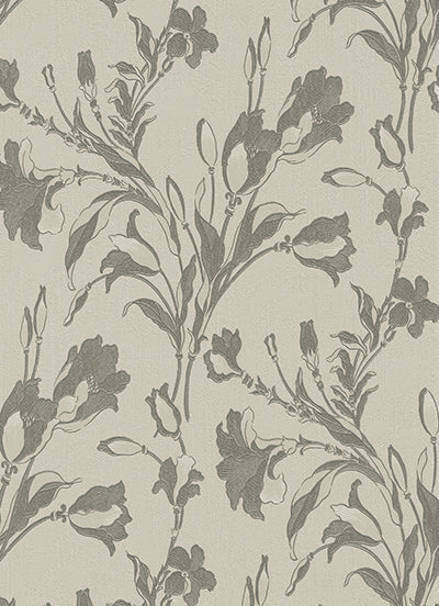 Tulip Floral Trail Taupe Grey 5796-49 Wallpaper