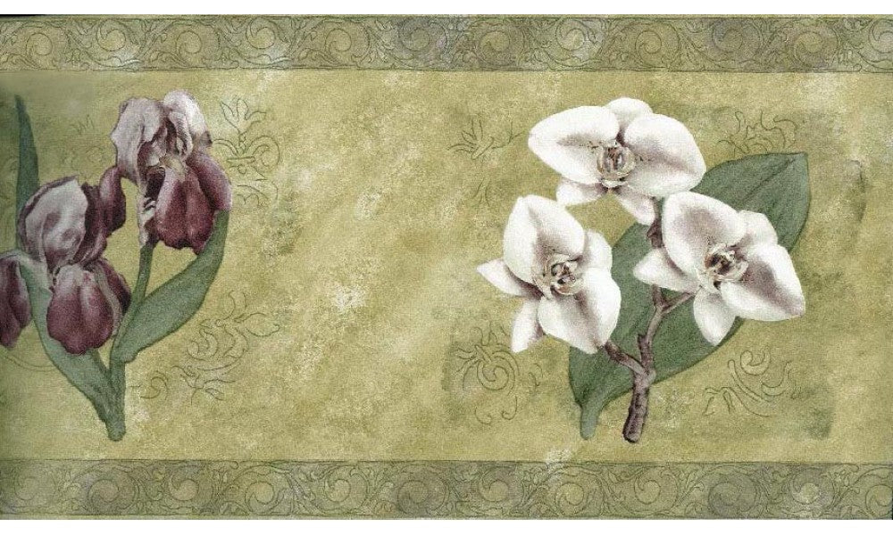 White tiny Flower Art SG30421 Wallpaper Border