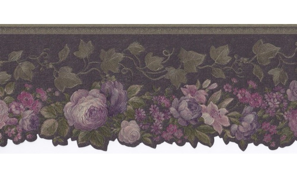 Olive Black Floral 62740 Wallpaper Border