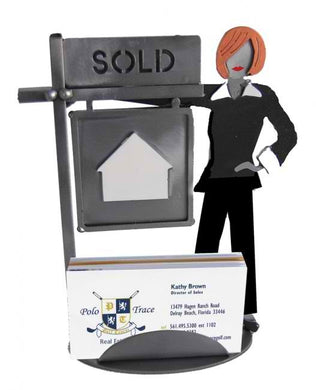 Female Real Estate Agent Business Card Holder