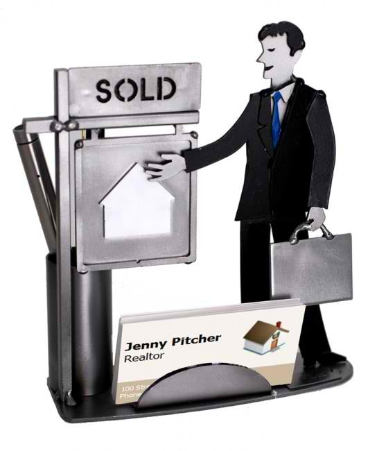 Male Real Estate Agent Business Card Holder