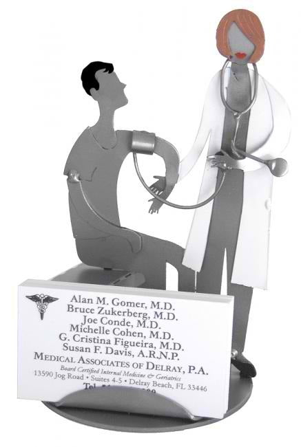 Female Doctor With Patient Business Card Holder