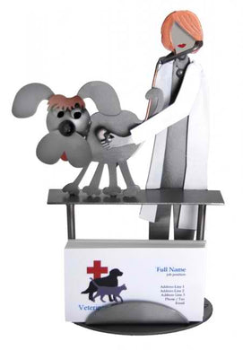 Vet Female Examining Dog Business Card Holder