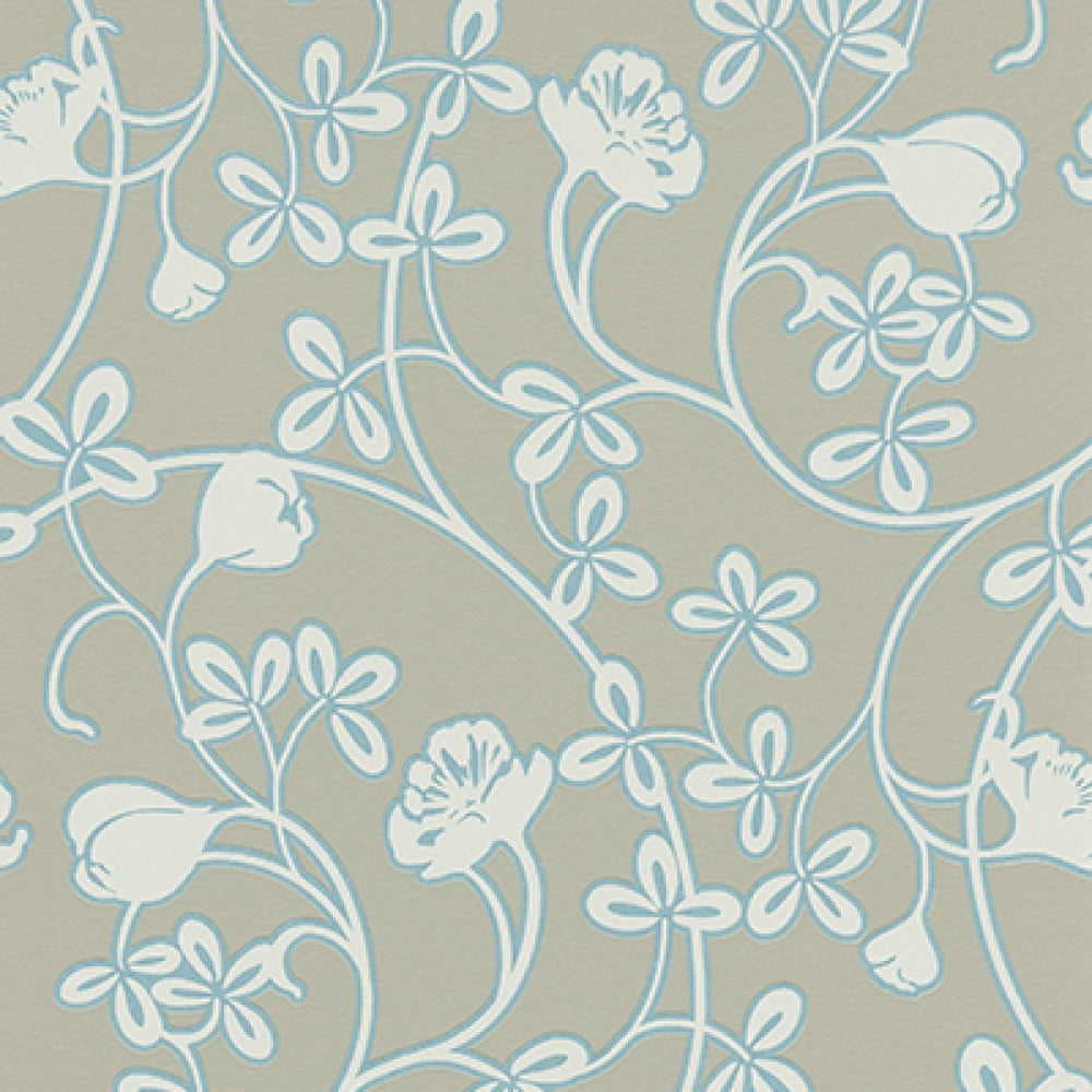 Floral Motifs Scroll Taupe Turquoise 6831 18 Wallpaper Designer