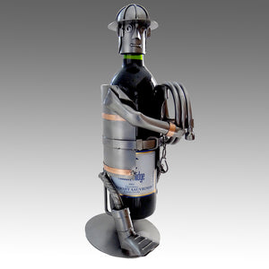 Firefighter Carrying Hose Wine Bottle Holder