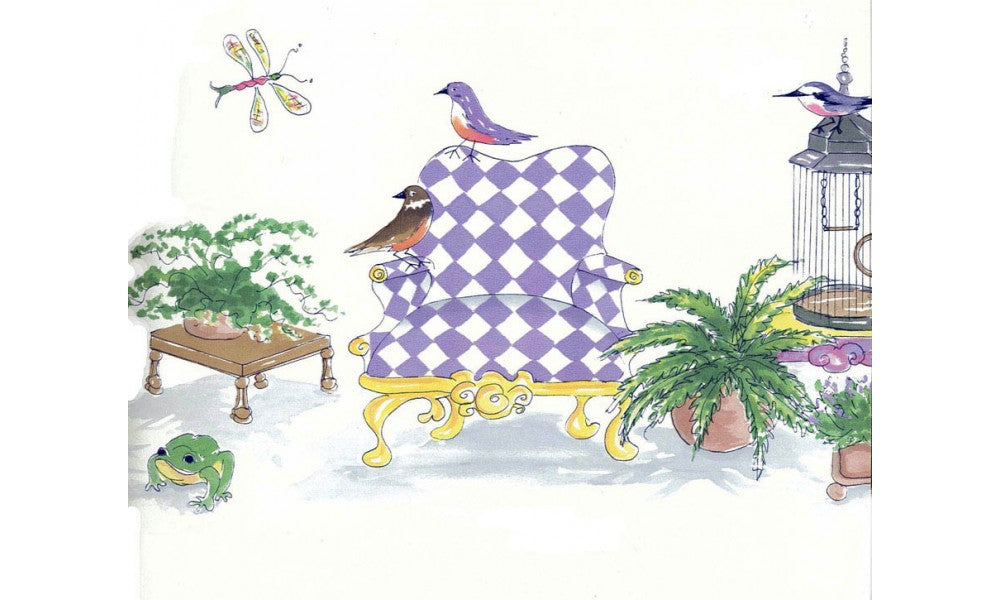 Birds Check Chair OR164 Wallpaper Border