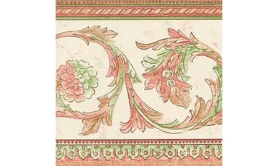 White Red Green Floral Swirls SR105213B Wallpaper Border