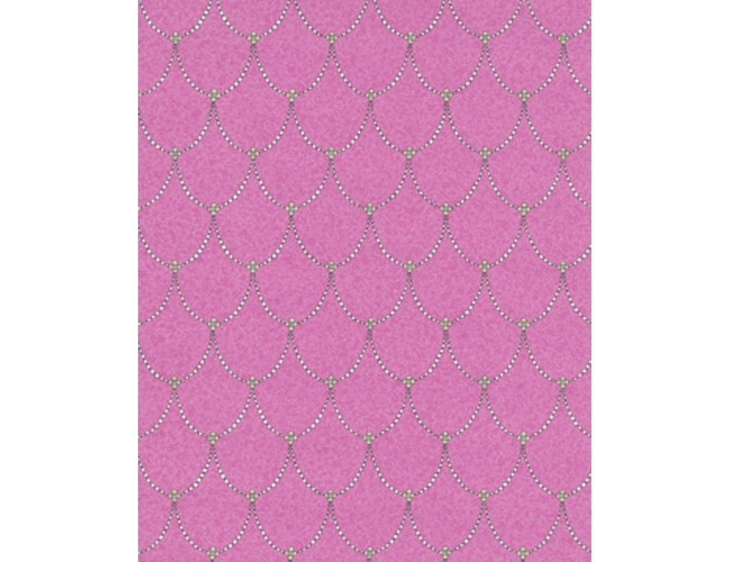 Trellis Drops Beads Pink 7303-17 Wallpaper