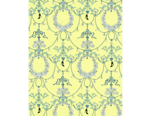 Ornamental Charms Swags Yellow Blue 7304-03 Wallpaper