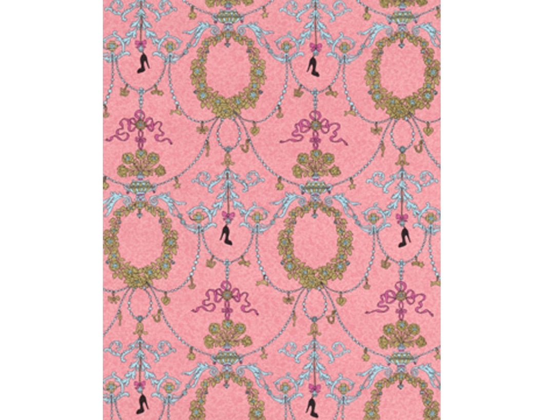 Ornamental Charms Swags Turquoise Rose 7304-50 Wallpaper
