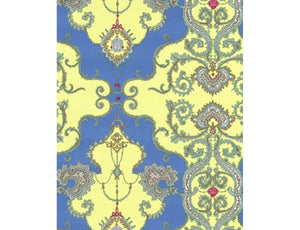 Ornamental Damask Yellow Blue 7308-03 Wallpaper