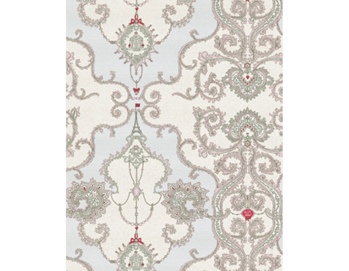 Ornamental Damask Rose Grey 7308-10 Wallpaper