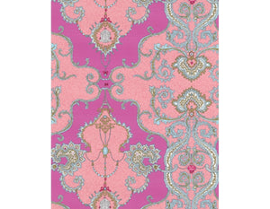Ornamental Damask Pink Red 7308-50 Wallpaper