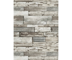 Wooden Wall Textured Taupe Grey 7319-10 Wallpaper