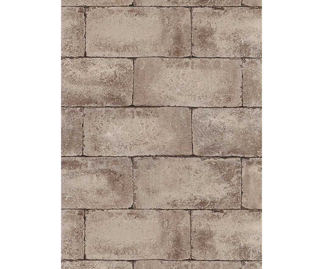 Blocks Structured Brown 7320-11 Wallpaper