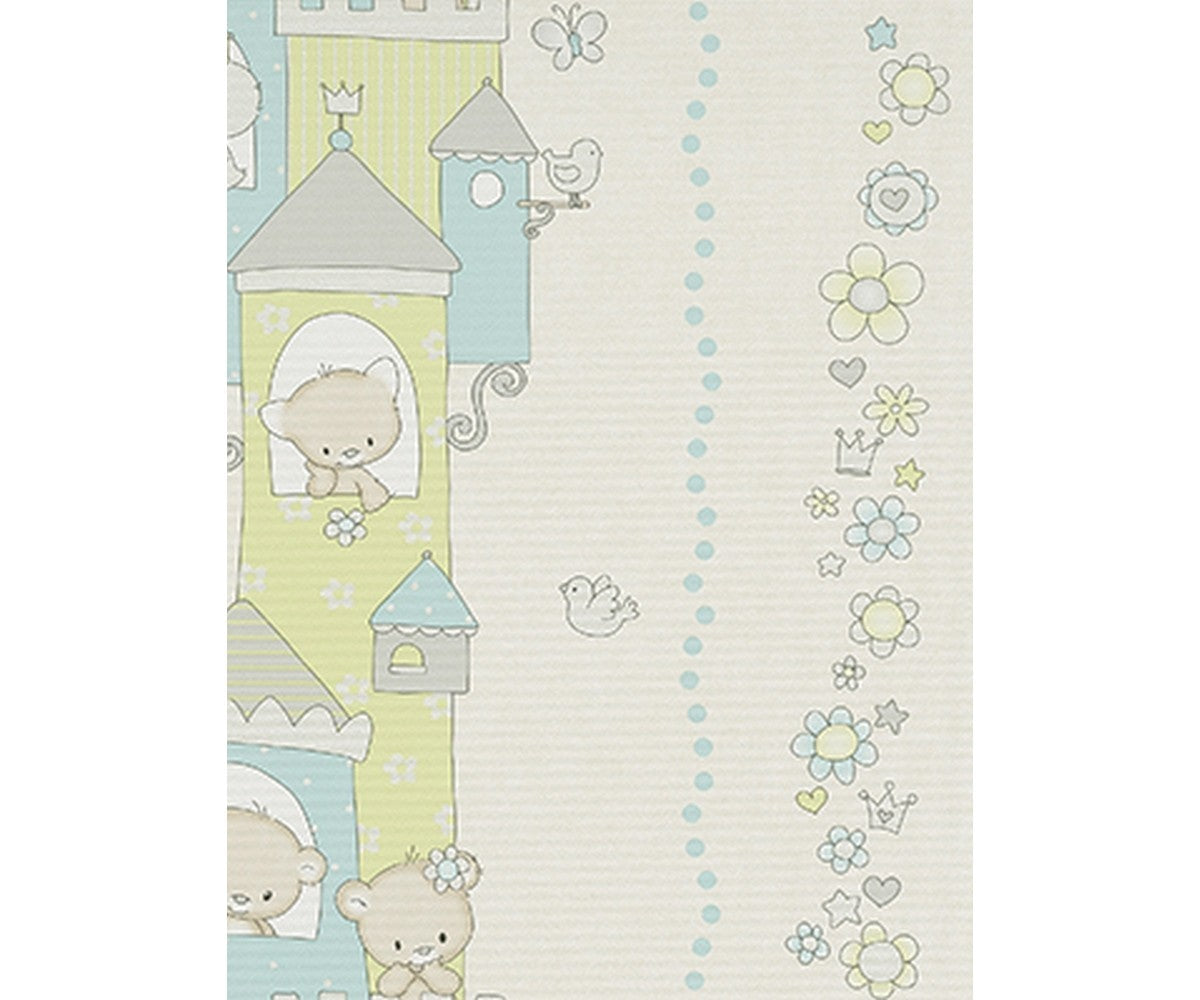 Teddy Bear Castle Stripes Green Blue Grey 7321-08 Wallpaper