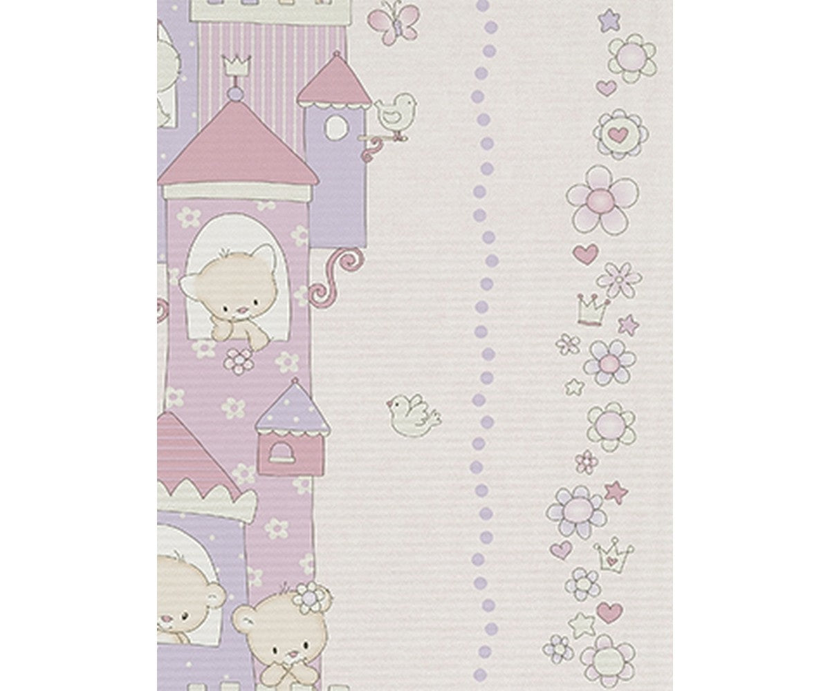 Teddy Bear Castle Stripes Rose Purple 7321-09 Wallpaper